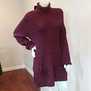 Jeanne Pierre turtleneck cable knitt sweater dress